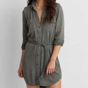 ❤️3 for 90❤️ AE Button Down Army Green Dress